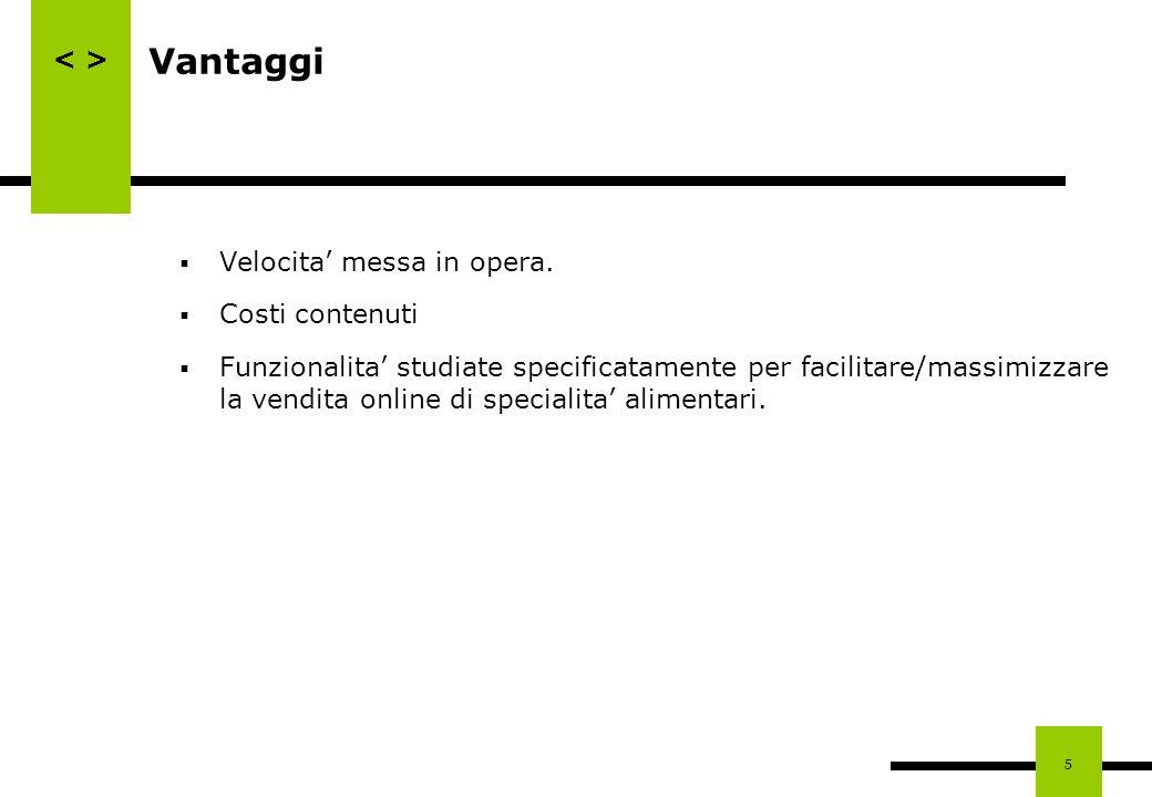 5 Vantaggi Velocita messa in opera. Costi contenuti Funzionalita studiate specificatamente per facilitare/massimizzare la vendita online di specialita