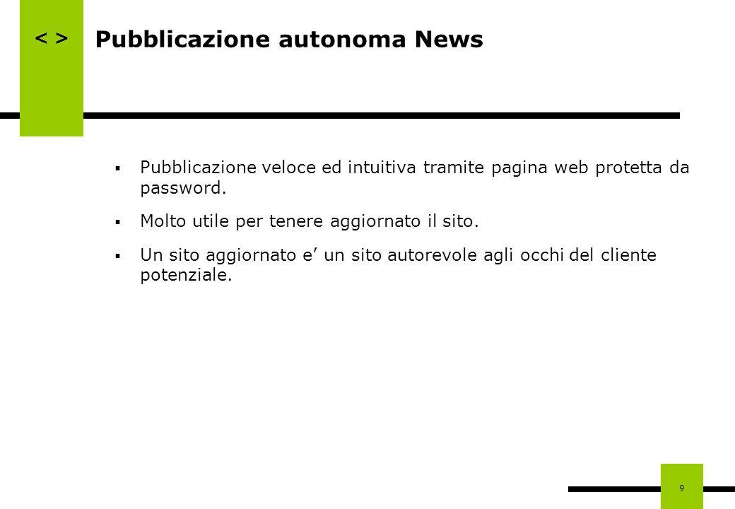 9 Pubblicazione autonoma News Pubblicazione veloce ed intuitiva tramite pagina web protetta da password. Molto utile per tenere aggiornato il sito. Un