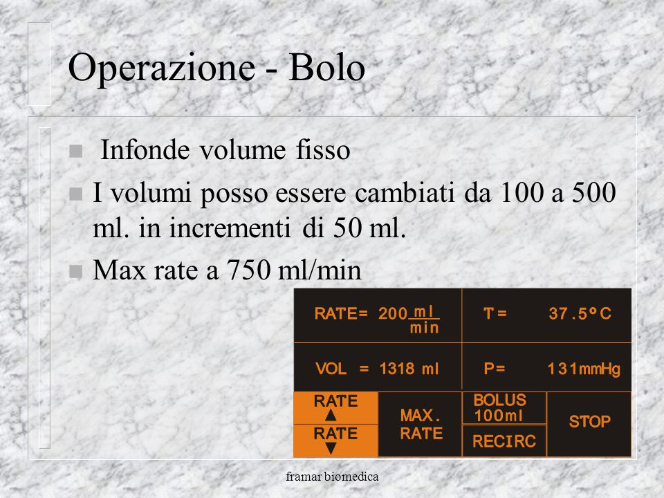 framar biomedica Operazione - Infusione n SU e GIU infondono da 2.5 a 500 ml/min – Flusso Minimo di 2.5 ml/min – Flusso Massimo di 750 ml/min – Da 2.5
