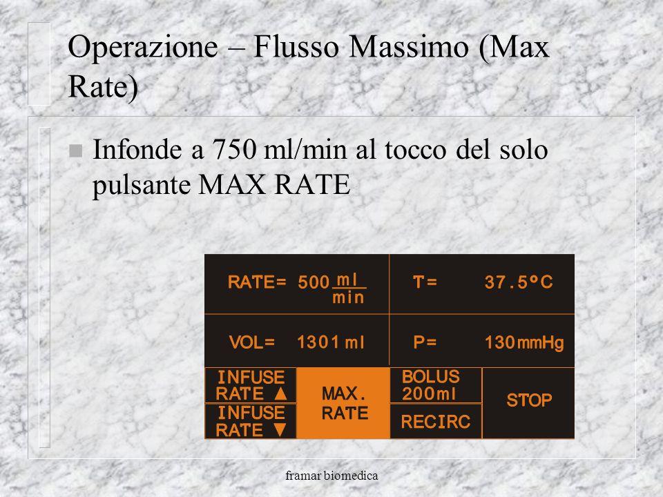 framar biomedica Operazione - Bolo n Infonde volume fisso n I volumi posso essere cambiati da 100 a 500 ml. in incrementi di 50 ml. n Max rate a 750 m