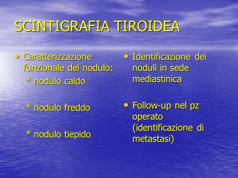 SCINTIGRAFIA TIROIDEA Caratterizzazione funzionale del nodulo: Caratterizzazione funzionale del nodulo: * nodulo caldo * nodulo caldo * nodulo freddo