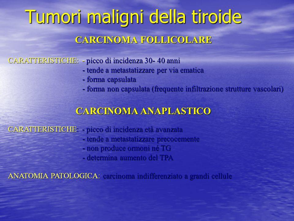 Tumori maligni della tiroide CARCINOMA FOLLICOLARE CARATTERISTICHE: - picco di incidenza 30- 40 anni - tende a metastatizzare per via ematica - tende