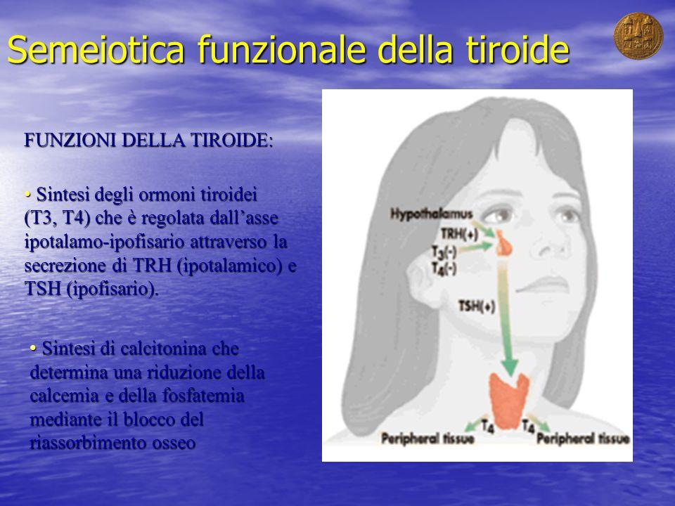 Semeiotica funzionale della tiroide FUNZIONI DELLA TIROIDE: Sintesi degli ormoni tiroidei Sintesi degli ormoni tiroidei (T3, T4) che è regolata dallas