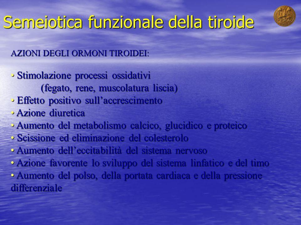 Semeiotica funzionale della tiroide AZIONI DEGLI ORMONI TIROIDEI: Stimolazione processi ossidativi (fegato, rene, muscolatura liscia) Stimolazione pro
