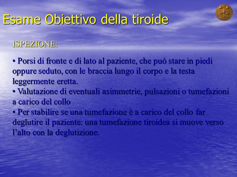 Esame Obiettivo della tiroide ISPEZIONE: Porsi di fronte e di lato al paziente, che può stare in piedi oppure seduto, con le braccia lungo il corpo e