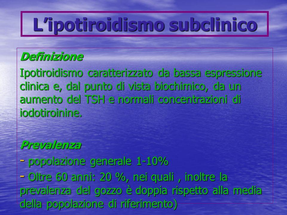Lipotiroidismo subclinico Definizione Ipotiroidismo caratterizzato da bassa espressione clinica e, dal punto di vista biochimico, da un aumento del TS