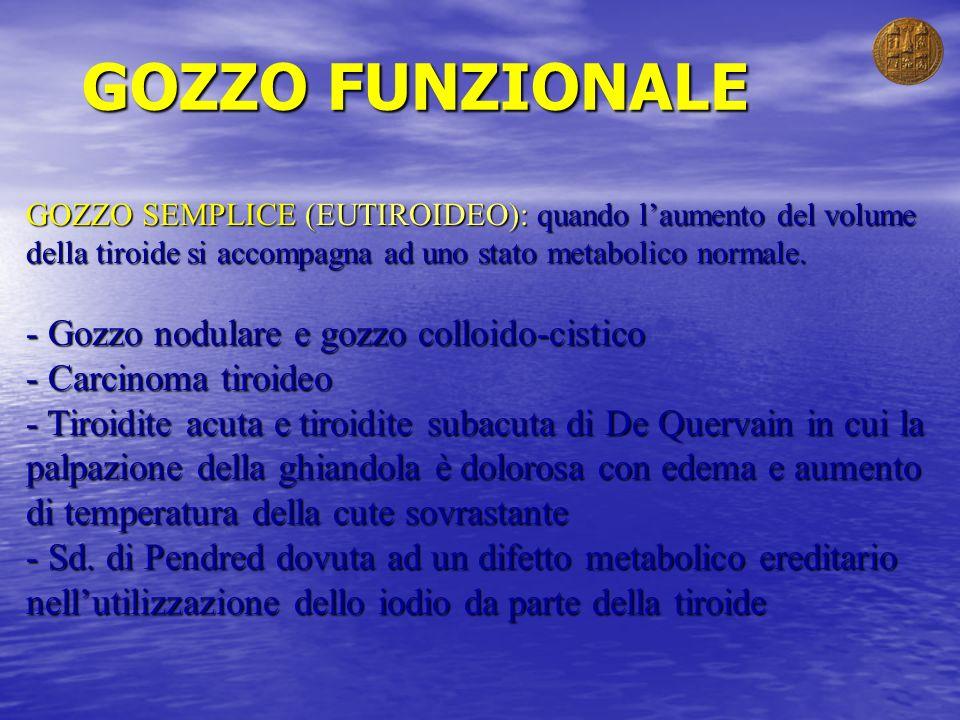 GOZZO FUNZIONALE GOZZO SEMPLICE (EUTIROIDEO): quando laumento del volume della tiroide si accompagna ad uno stato metabolico normale. - Gozzo nodulare