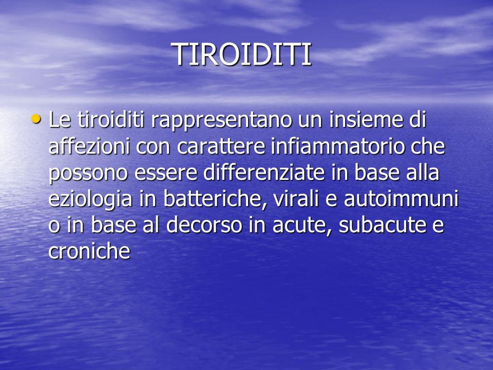 TIROIDITI TIROIDITI Le tiroiditi rappresentano un insieme di affezioni con carattere infiammatorio che possono essere differenziate in base alla eziol