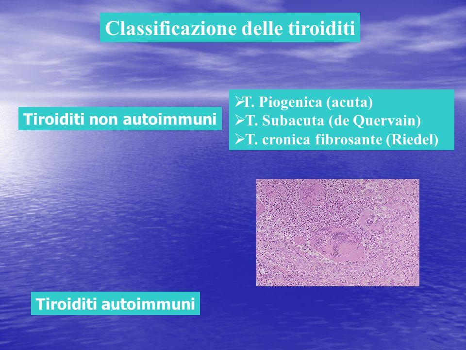 Tiroiditi non autoimmuni T. Piogenica (acuta) T. Subacuta (de Quervain) T. cronica fibrosante (Riedel) Classificazione delle tiroiditi Tiroiditi autoi