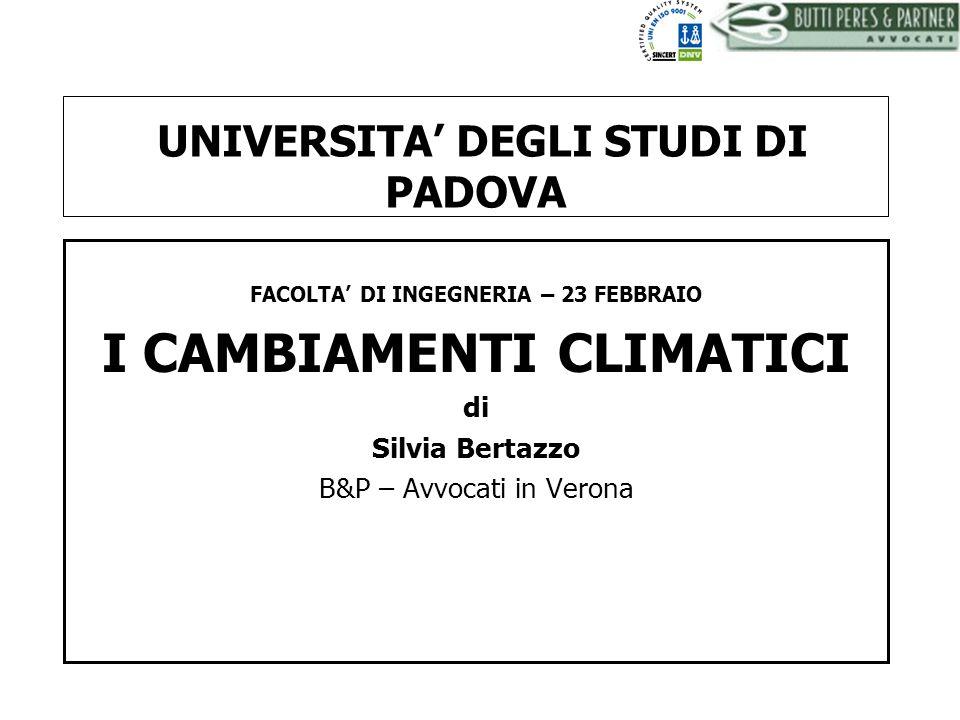 BUTTI PERES AND PARTNER - AVVOCATI La convenzione quadro delle Nazioni Unite sui cambiamenti climatici (1992) Obiettivo: abbattimento delle emissioni di gas ad effetto serra nellatmosfera Gli impegni di riduzione riguardano: biossido di carbonio o anidride carbonica (CO2), gas metano (CH4), ossido di azoto (N2O), esafloruro di zolfo (SF6), idrofluorocarburi (HFC) e perfluorocarburi (PFC)