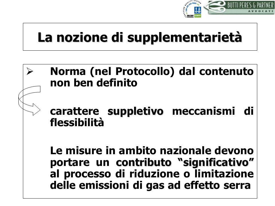 BUTTI PERES AND PARTNER - AVVOCATI La nozione di supplementarietà Norma (nel Protocollo) dal contenuto non ben definito suppletivo carattere suppletiv