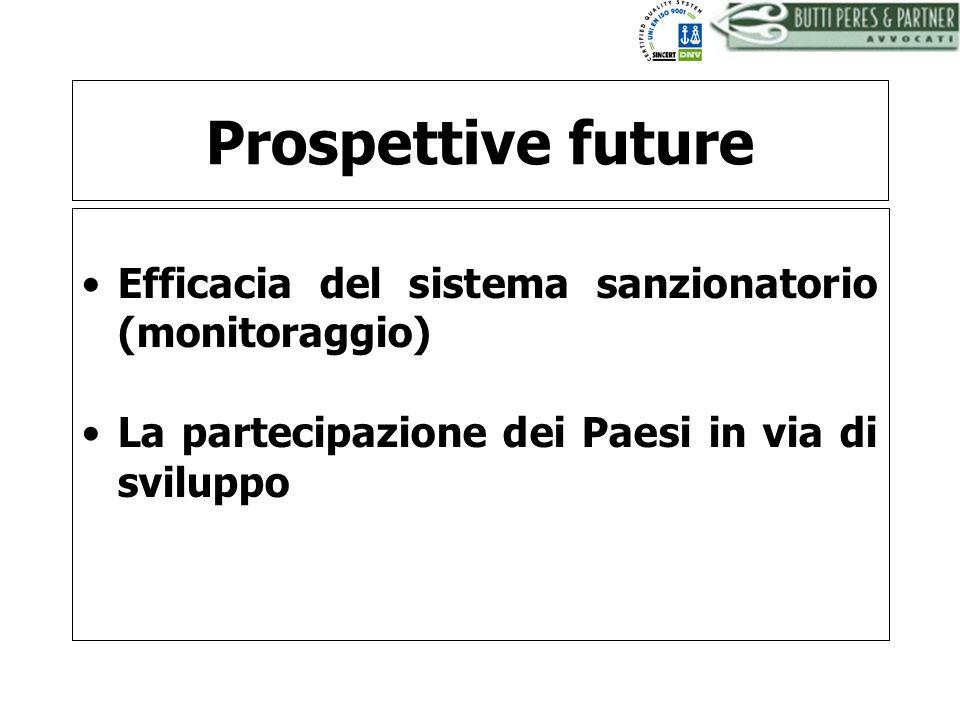 BUTTI PERES AND PARTNER - AVVOCATI Prospettive future Efficacia del sistema sanzionatorio (monitoraggio) La partecipazione dei Paesi in via di svilupp