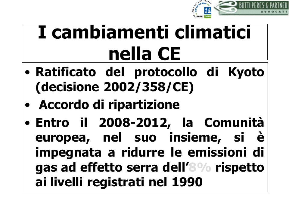 BUTTI PERES AND PARTNER - AVVOCATI I cambiamenti climatici nella CE Ratificato del protocollo di Kyoto (decisione 2002/358/CE) Accordo di ripartizione