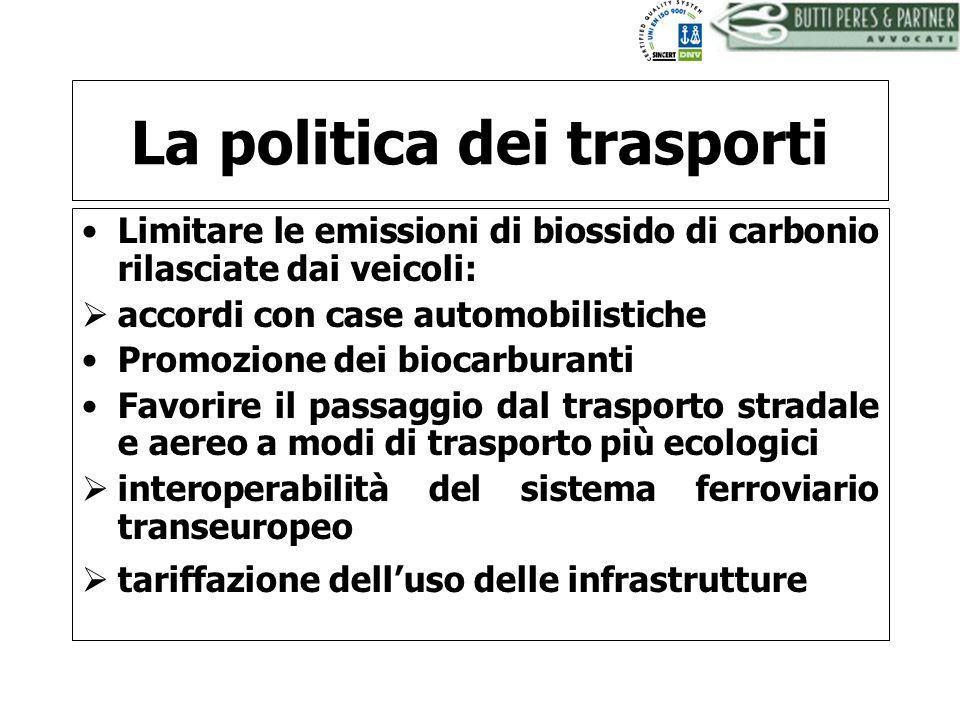 BUTTI PERES AND PARTNER - AVVOCATI La politica dei trasporti Limitare le emissioni di biossido di carbonio rilasciate dai veicoli: accordi con case au