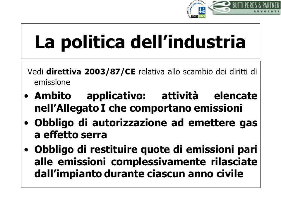 BUTTI PERES AND PARTNER - AVVOCATI La politica dellindustria Vedi direttiva 2003/87/CE relativa allo scambio dei diritti di emissione Ambito applicati