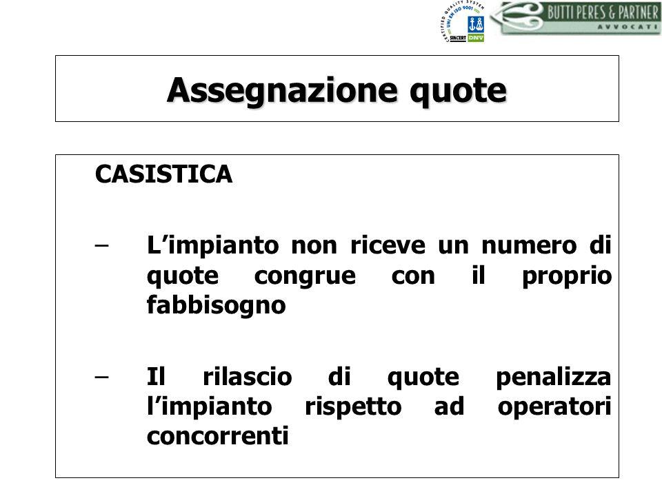BUTTI PERES AND PARTNER - AVVOCATI Assegnazione quote CASISTICA –Limpianto non riceve un numero di quote congrue con il proprio fabbisogno –Il rilasci