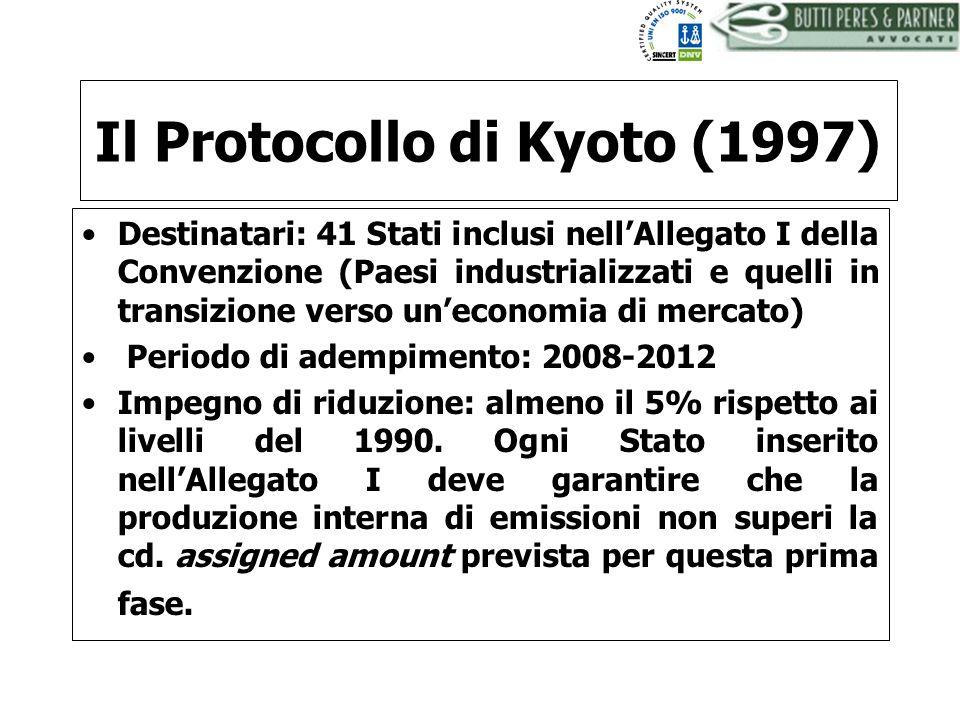 BUTTI PERES AND PARTNER - AVVOCATI Il Protocollo di Kyoto (1997) Destinatari: 41 Stati inclusi nellAllegato I della Convenzione (Paesi industrializzat
