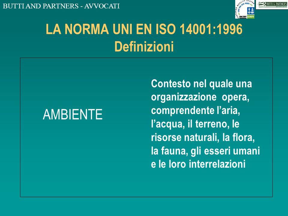 BUTTI AND PARTNERS - AVVOCATI LA NORMA UNI EN ISO 14001:1996 Definizioni ORGANIZZAZIONE Gruppo, società, azienda, impresa, ente o istituzione, ovvero
