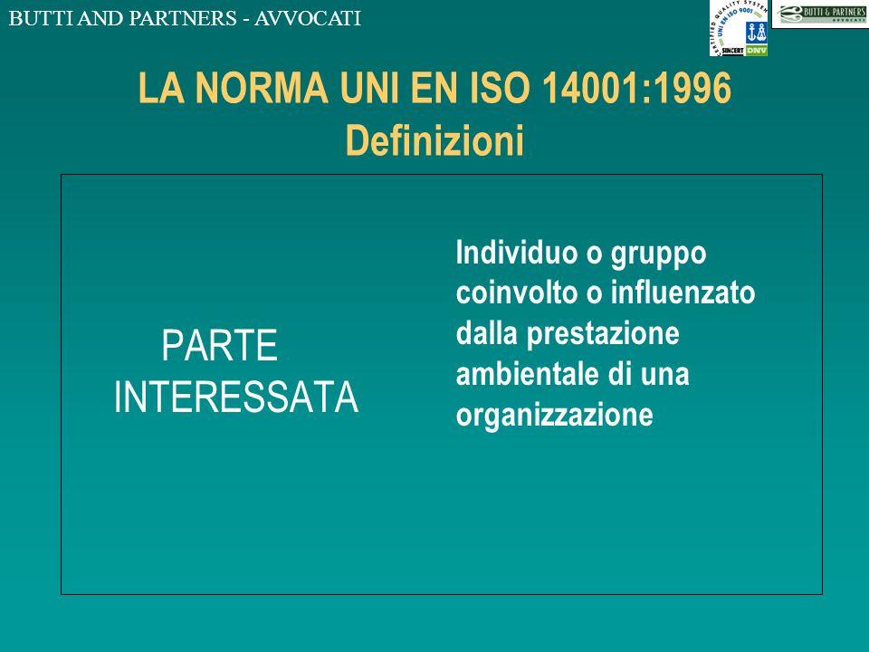 BUTTI AND PARTNERS - AVVOCATI LA NORMA UNI EN ISO 14001:1996 Definizioni AMBIENTE Contesto nel quale una organizzazione opera, comprendente laria, lac