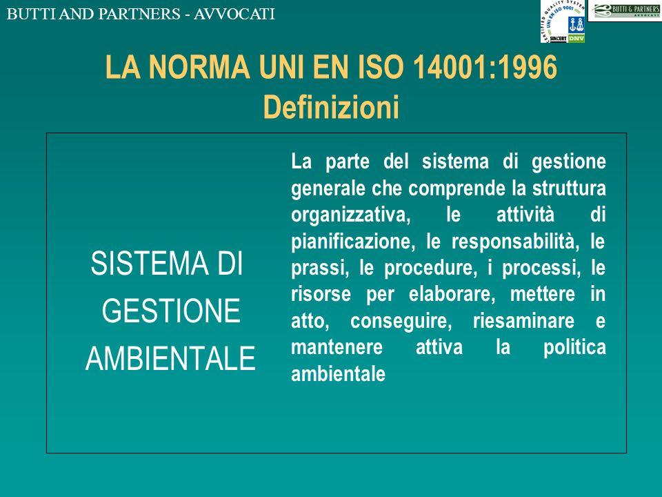 BUTTI AND PARTNERS - AVVOCATI LA NORMA UNI EN ISO 14001:1996 Definizioni OBIETTIVO PRESTAZIONE TRAGUARDO Il fine ultimo ambientale complessivo, deriva