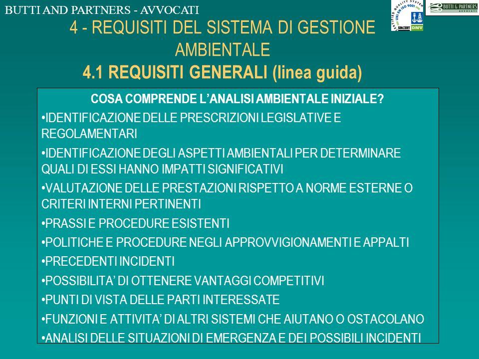 BUTTI AND PARTNERS - AVVOCATI 4 - REQUISITI DEL SISTEMA DI GESTIONE AMBIENTALE 4.1 REQUISITI GENERALI (linea guida) DA DOVE COMINCIARE? DALLA CONFORMI