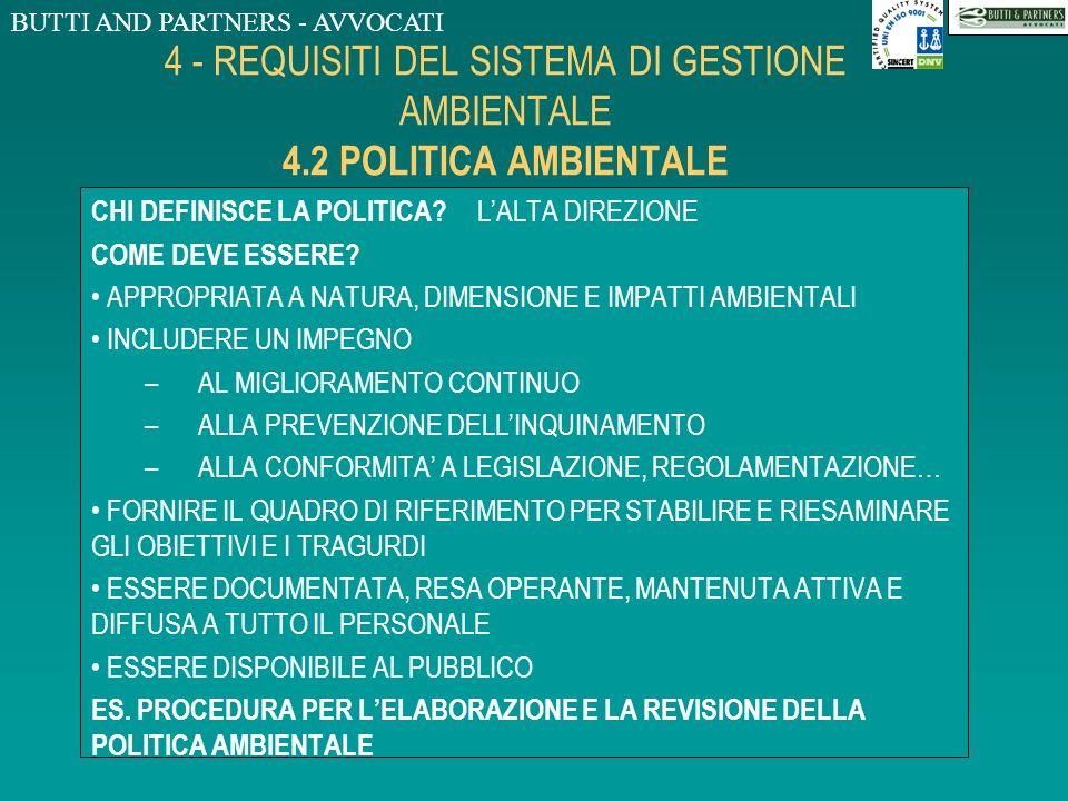 BUTTI AND PARTNERS - AVVOCATI 4 - REQUISITI DEL SISTEMA DI GESTIONE AMBIENTALE 4.2 POLITICA AMBIENTALE DEFINIZIONE: DICHIARAZIONE, FATTA DA UNORGANIZZ