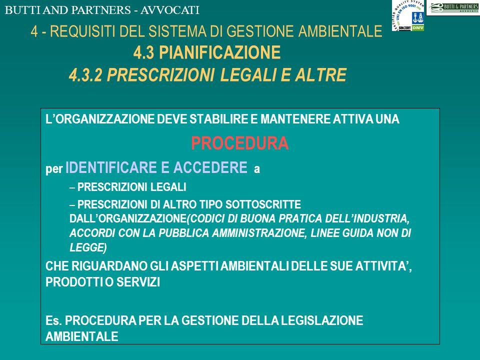 BUTTI AND PARTNERS - AVVOCATI 4 - REQUISITI DEL SISTEMA DI GESTIONE AMBIENTALE 4.3 PIANIFICAZIONE 4.3.1 ASPETTI AMBIENTALI LORGANIZZAZIONE DEVE STABIL