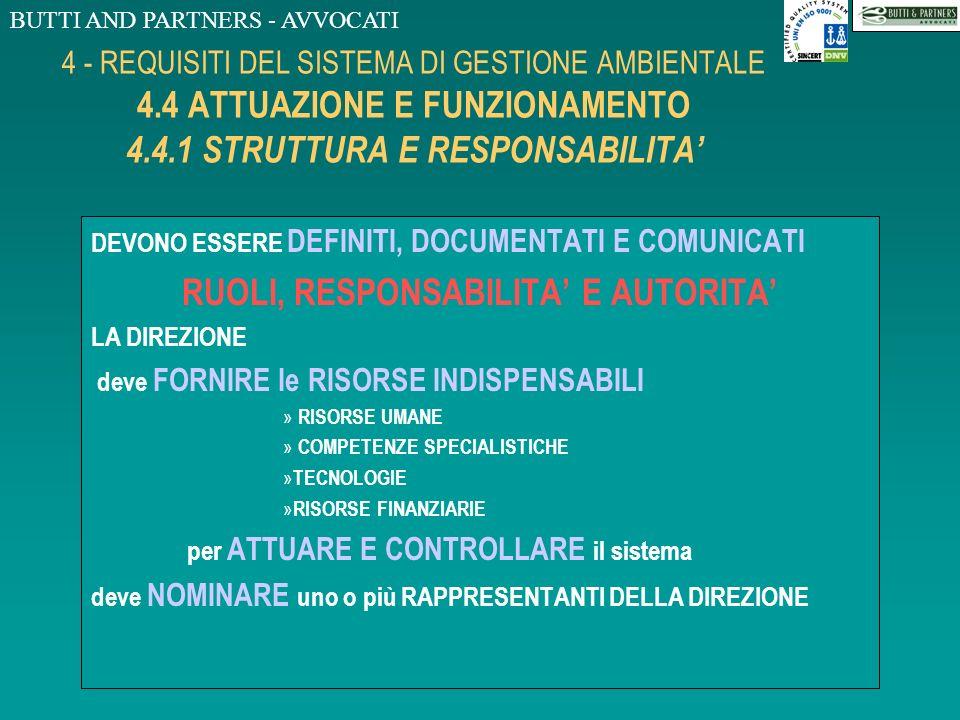 BUTTI AND PARTNERS - AVVOCATI 4 - REQUISITI DEL SISTEMA DI GESTIONE AMBIENTALE 4.3 PIANIFICAZIONE 4.3.4 PROGRAMMA/I DI GESTIONE AMBIENTALE LORGANIZZAZ