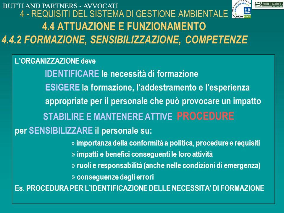 BUTTI AND PARTNERS - AVVOCATI 4 - REQUISITI DEL SISTEMA DI GESTIONE AMBIENTALE 4.4 ATTUAZIONE E FUNZIONAMENTO 4.4.1 STRUTTURA E RESPONSABILITA IL RAPP