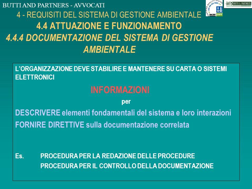 BUTTI AND PARTNERS - AVVOCATI 4 - REQUISITI DEL SISTEMA DI GESTIONE AMBIENTALE 4.4 ATTUAZIONE E FUNZIONAMENTO 4.4.3 COMUNICAZIONE LORGANIZZAZIONE DEVE