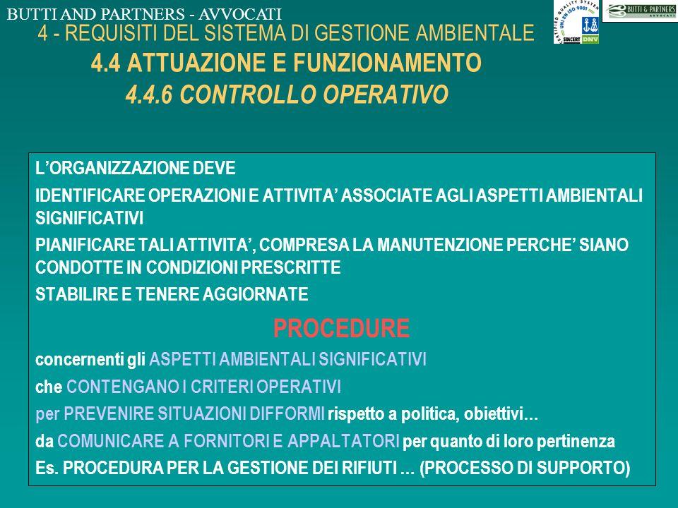 BUTTI AND PARTNERS - AVVOCATI 4 - REQUISITI DEL SISTEMA DI GESTIONE AMBIENTALE 4.4 ATTUAZIONE E FUNZIONAMENTO 4.4.5 CONTROLLO DELLA DOCUMENTAZIONE LOR