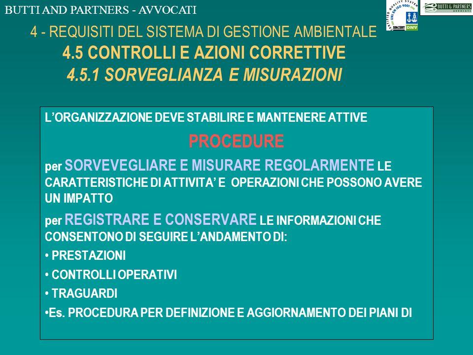 BUTTI AND PARTNERS - AVVOCATI 4 - REQUISITI DEL SISTEMA DI GESTIONE AMBIENTALE 4.4 ATTUAZIONE E FUNZIONAMENTO 4.4.7 PREPARAZIONE ALLE EMERGENZE E RISP