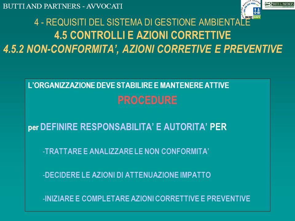 BUTTI AND PARTNERS - AVVOCATI 4 - REQUISITI DEL SISTEMA DI GESTIONE AMBIENTALE 4.5 CONTROLLI E AZIONI CORRETTIVE 4.5.1 SORVEGLIANZA E MISURAZIONI...PR