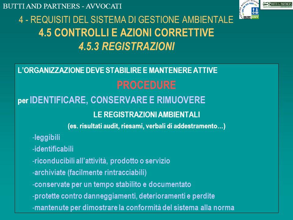 BUTTI AND PARTNERS - AVVOCATI 4 - REQUISITI DEL SISTEMA DI GESTIONE AMBIENTALE 4.5 CONTROLLI E AZIONI CORRETTIVE 4.5.2 NON-CONFORMITA, AZIONI CORRETIV