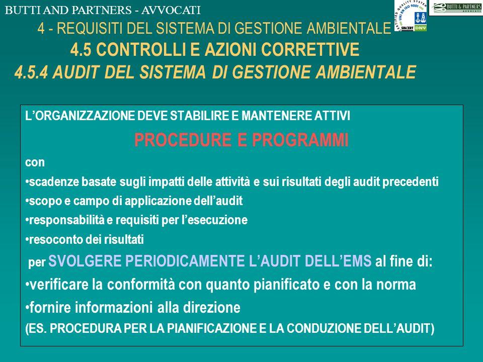 BUTTI AND PARTNERS - AVVOCATI 4 - REQUISITI DEL SISTEMA DI GESTIONE AMBIENTALE 4.5 CONTROLLI E AZIONI CORRETTIVE 4.5.3 REGISTRAZIONI LORGANIZZAZIONE D