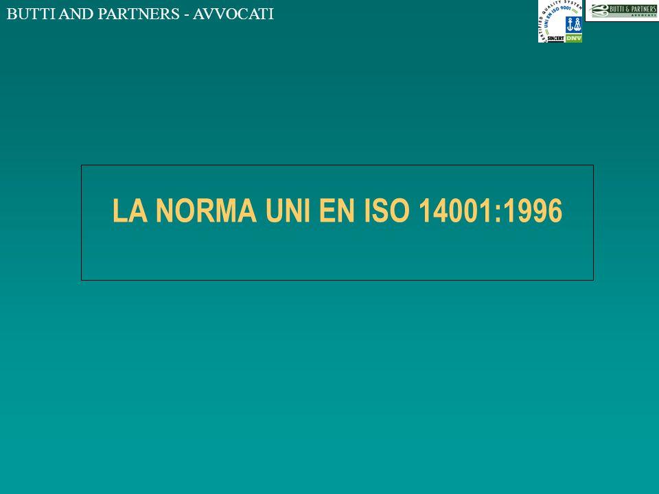 BUTTI AND PARTNERS - AVVOCATI LA NORMA UNI EN ISO 14001:1996 Definizioni MIGLIORAMENTO CONTINUO Processo di accrescimento del sistema di gestione ambientale per ottenere miglioramenti della prestazione ambientale complessiva in accordo con la politica ambientale dellorganizzazione