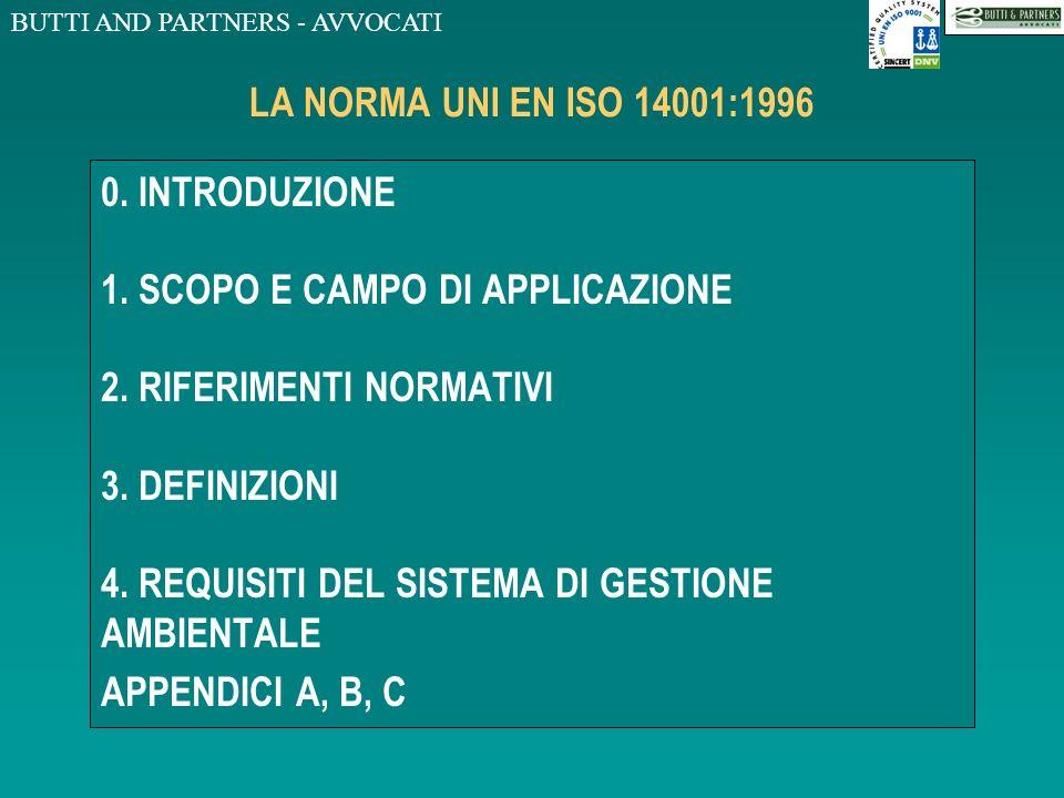 BUTTI AND PARTNERS - AVVOCATI LA NORMA UNI EN ISO 14001:1996 0.