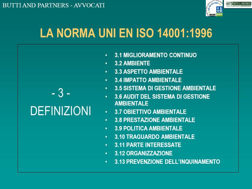 BUTTI AND PARTNERS - AVVOCATI LA NORMA UNI EN ISO 14001:1996 - 3 - DEFINIZIONI 3.1 MIGLIORAMENTO CONTINUO 3.2 AMBIENTE 3.3 ASPETTO AMBIENTALE 3.4 IMPATTO AMBIENTALE 3.5 SISTEMA DI GESTIONE AMBIENTALE 3.6 AUDIT DEL SISTEMA DI GESTIONE AMBIENTALE 3.7 OBIETTIVO AMBIENTALE 3.8 PRESTAZIONE AMBIENTALE 3.9 POLITICA AMBIENTALE 3.10 TRAGUARDO AMBIENTALE 3.11 PARTE INTERESSATE 3.12 ORGANIZZAZIONE 3.13 PREVENZIONE DELLINQUINAMENTO