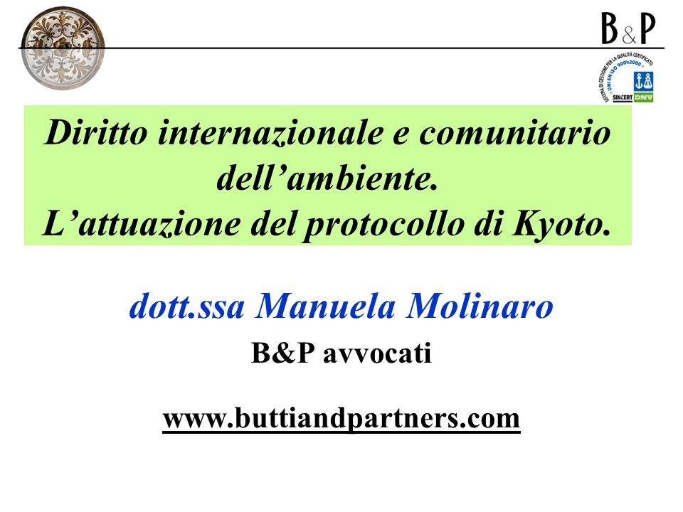 Diritto internazionale e comunitario dellambiente. Lattuazione del protocollo di Kyoto. dott.ssa Manuela Molinaro B&P avvocati www.buttiandpartners.co