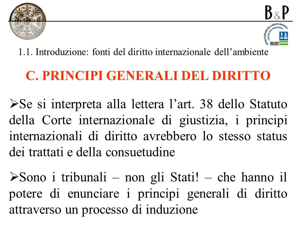 1.1. Introduzione: fonti del diritto internazionale dellambiente C. PRINCIPI GENERALI DEL DIRITTO Se si interpreta alla lettera lart. 38 dello Statuto