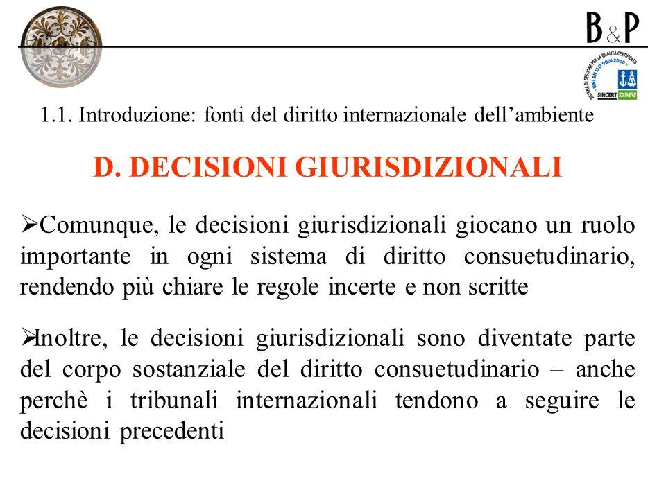 1.1. Introduzione: fonti del diritto internazionale dellambiente D. DECISIONI GIURISDIZIONALI Comunque, le decisioni giurisdizionali giocano un ruolo