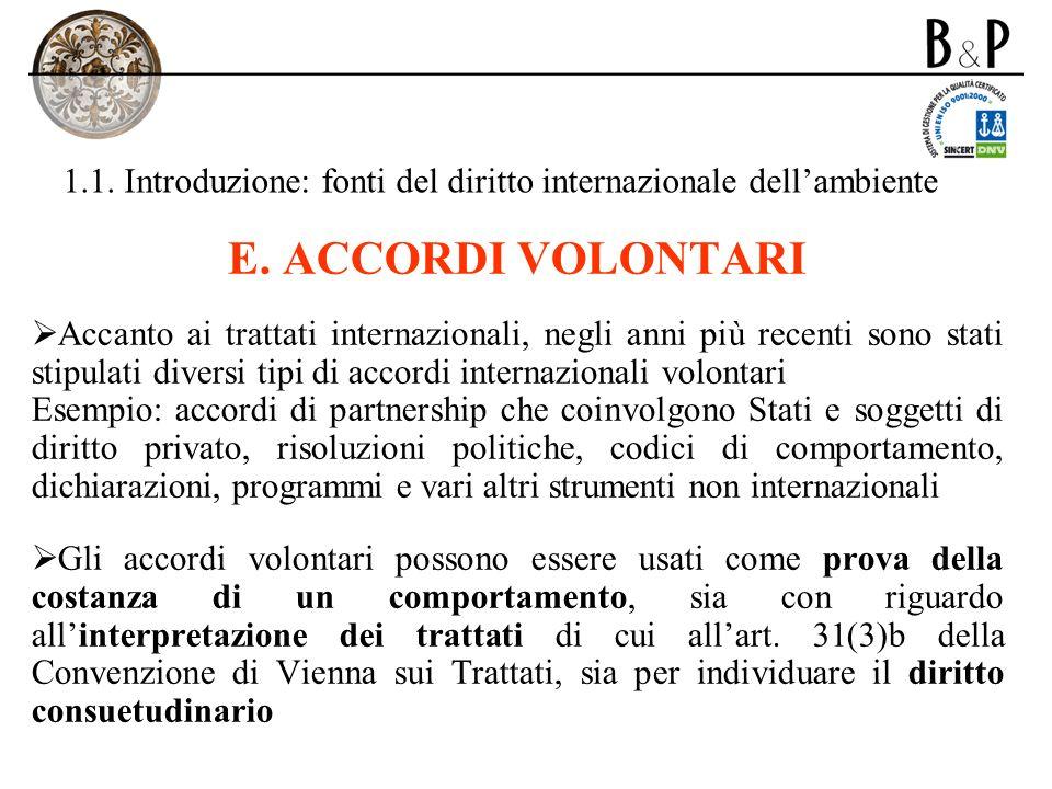 1.1. Introduzione: fonti del diritto internazionale dellambiente E. ACCORDI VOLONTARI Accanto ai trattati internazionali, negli anni più recenti sono