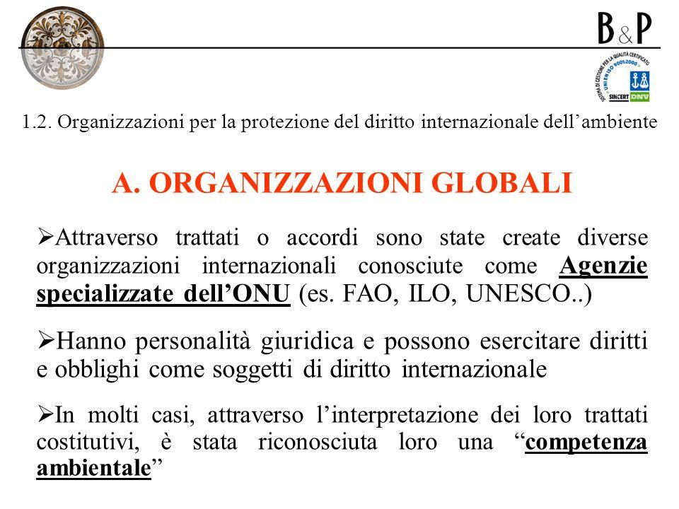 1.2. Organizzazioni per la protezione del diritto internazionale dellambiente A. ORGANIZZAZIONI GLOBALI Attraverso trattati o accordi sono state creat