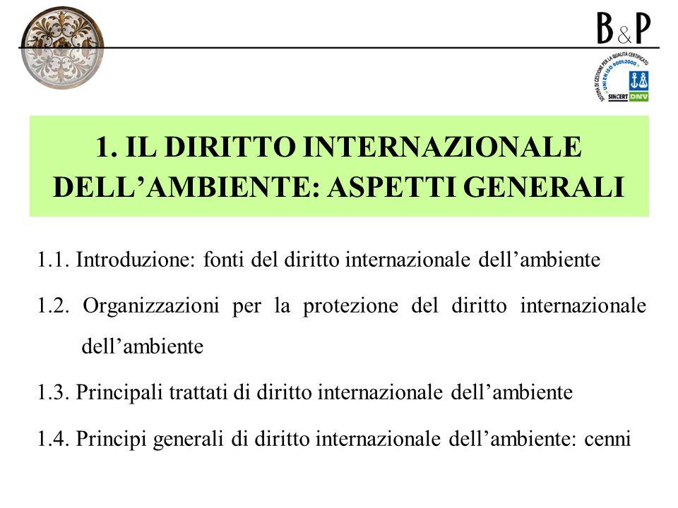 1. IL DIRITTO INTERNAZIONALE DELLAMBIENTE: ASPETTI GENERALI 1.1. Introduzione: fonti del diritto internazionale dellambiente 1.2. Organizzazioni per l