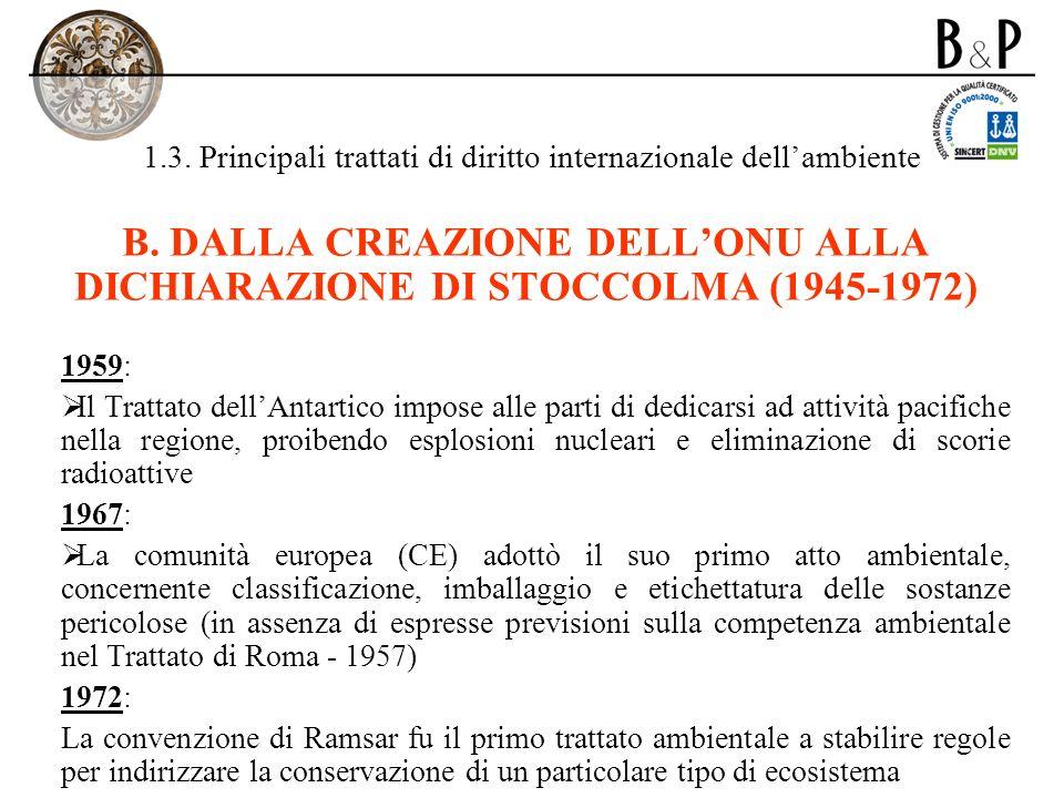1.3. Principali trattati di diritto internazionale dellambiente B. DALLA CREAZIONE DELLONU ALLA DICHIARAZIONE DI STOCCOLMA (1945-1972) 1959: Il Tratta