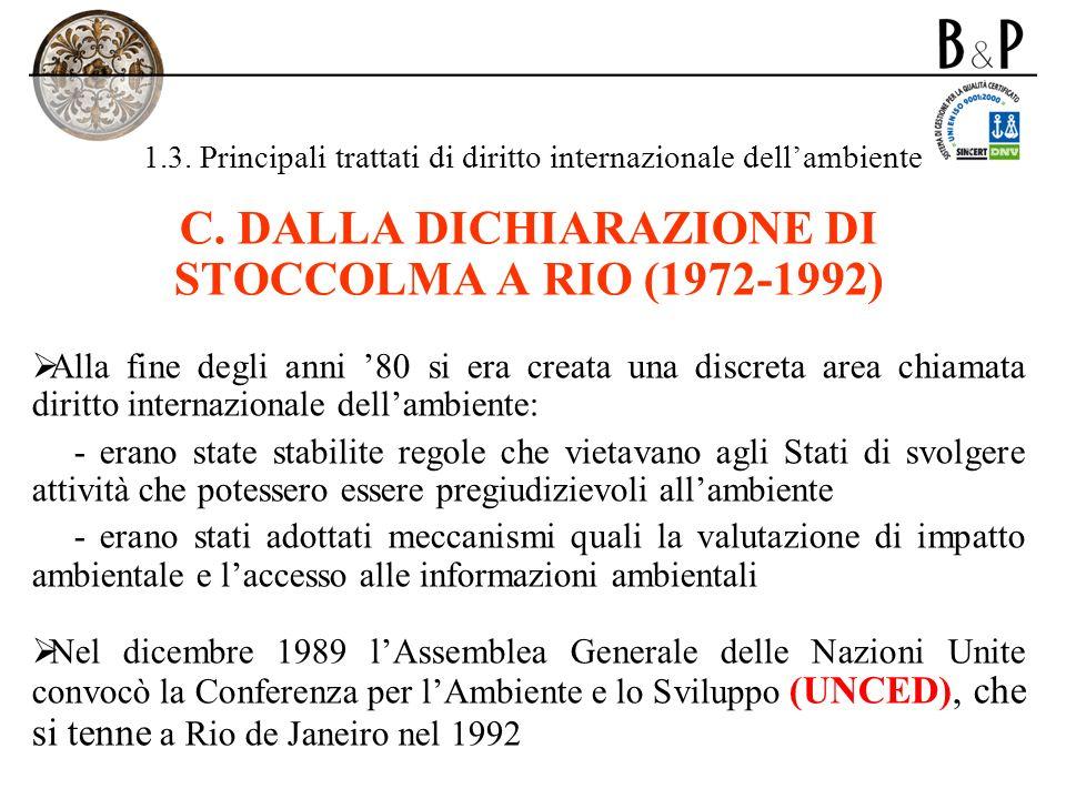 1.3. Principali trattati di diritto internazionale dellambiente C. DALLA DICHIARAZIONE DI STOCCOLMA A RIO (1972-1992) Alla fine degli anni 80 si era c
