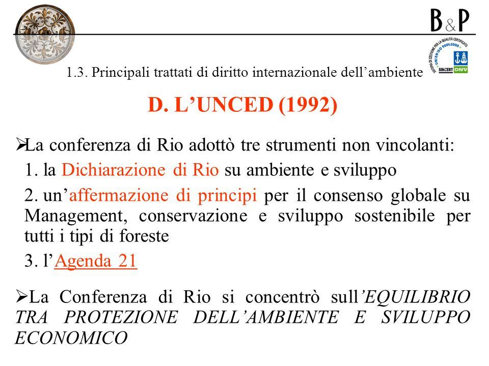1.3. Principali trattati di diritto internazionale dellambiente D. LUNCED (1992) La conferenza di Rio adottò tre strumenti non vincolanti: 1. la Dichi