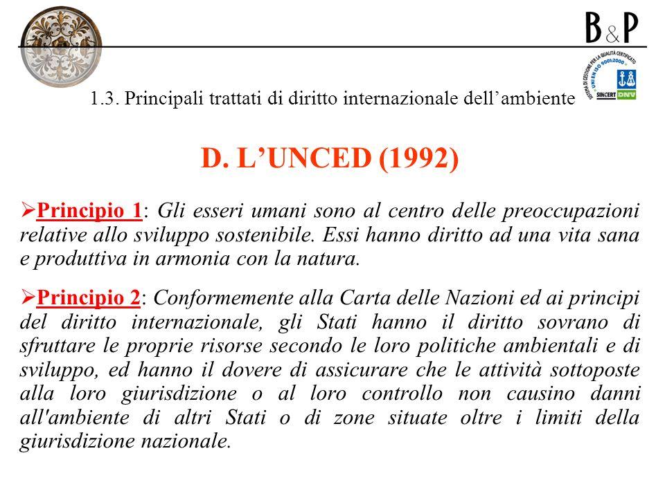 1.3. Principali trattati di diritto internazionale dellambiente D. LUNCED (1992) Principio 1: Gli esseri umani sono al centro delle preoccupazioni rel