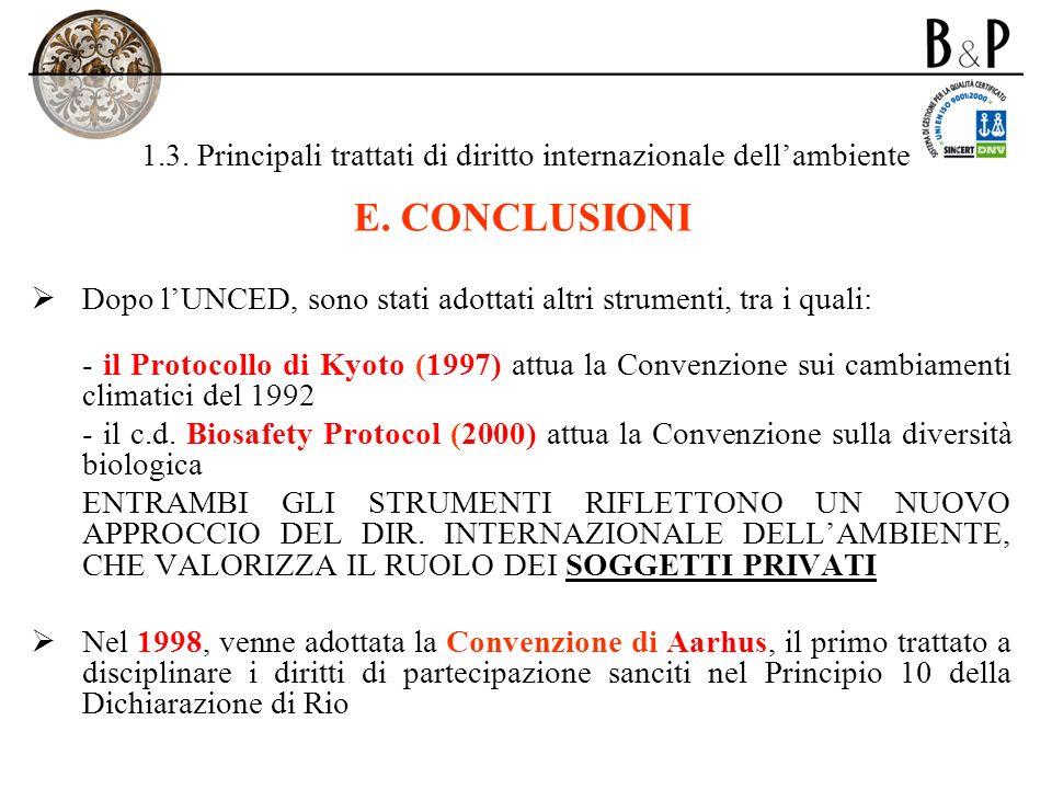 1.3. Principali trattati di diritto internazionale dellambiente E. CONCLUSIONI Dopo lUNCED, sono stati adottati altri strumenti, tra i quali: - il Pro