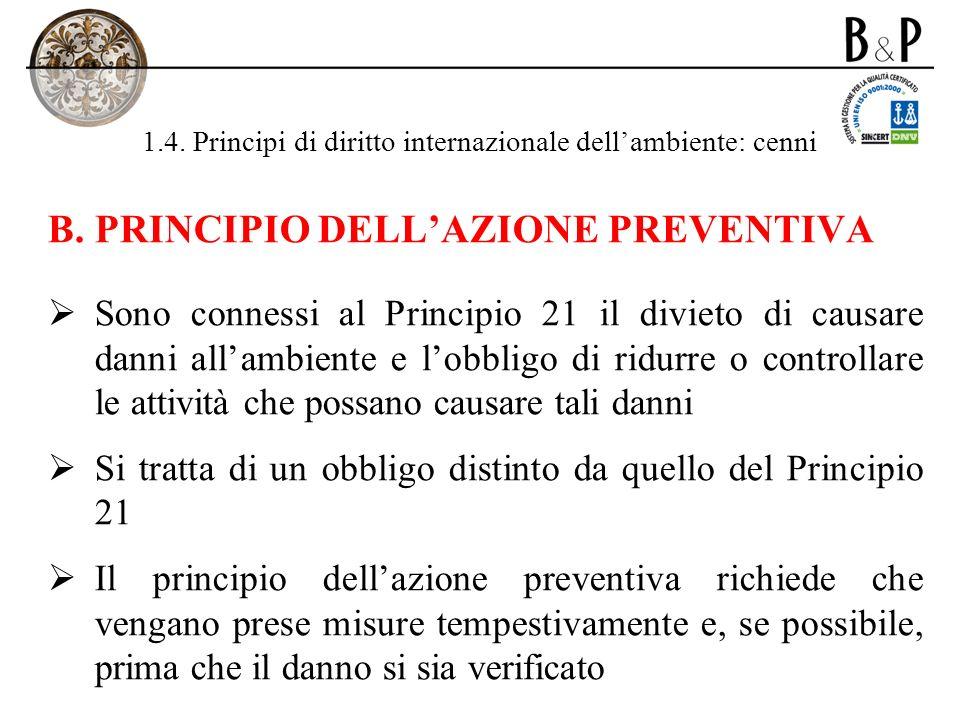 1.4. Principi di diritto internazionale dellambiente: cenni B.PRINCIPIO DELLAZIONE PREVENTIVA Sono connessi al Principio 21 il divieto di causare dann